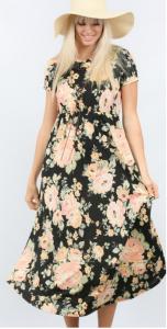 Plus Size black floral Midi dress