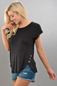 Black Tee With Buttons