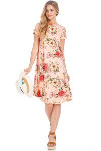 blush floral swing dress