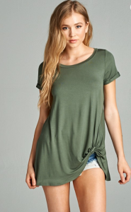 Olive Knotted Plus Size Tee