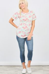 plus Size mint flare tee with sleeves
