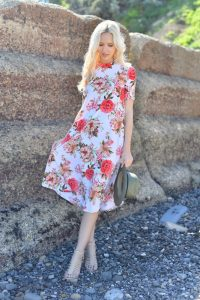 White Ivory Coral Floral Swing Dress