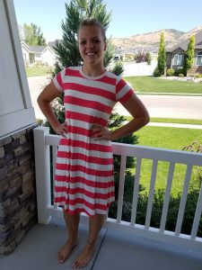 Coral Striped Swing Dress