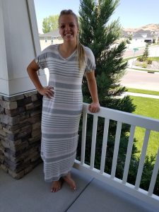 Oatmeal Striped Maxi Dress