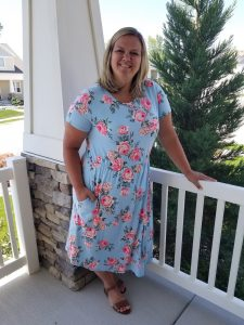 Plus Size Blue Floral Midi Dress