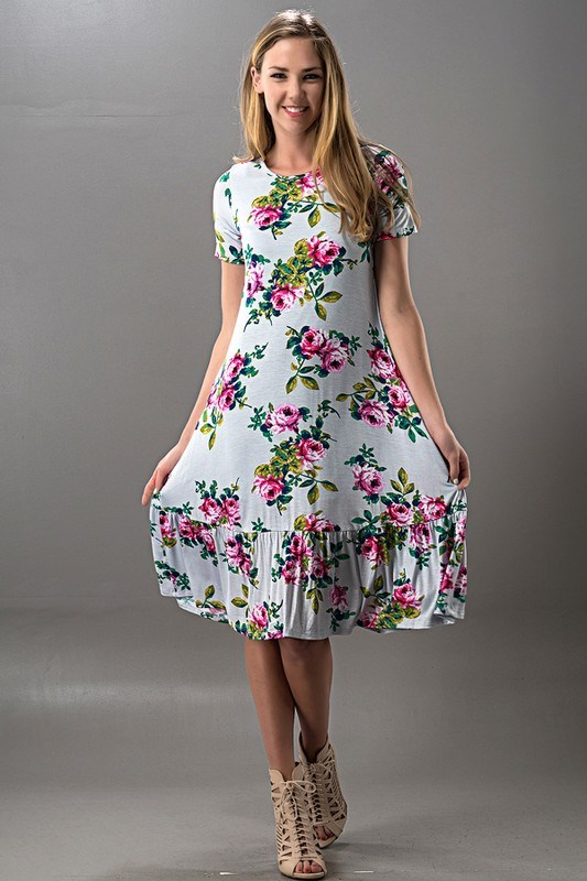 Blue Floral Ruffle Bottom Midi Dress